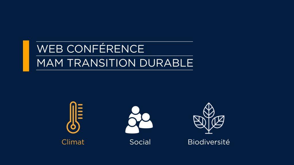 Web conférence transition durable : l'action climatique est une contribution efficace à la sortie de crise